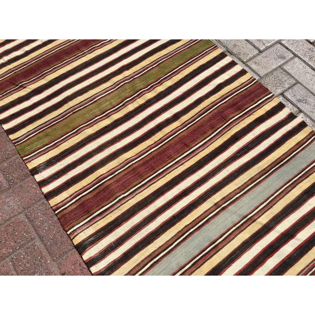 Vintage Striped Turkish Kilim Runner Rug For Sale In Raleigh - Image 6 of 9