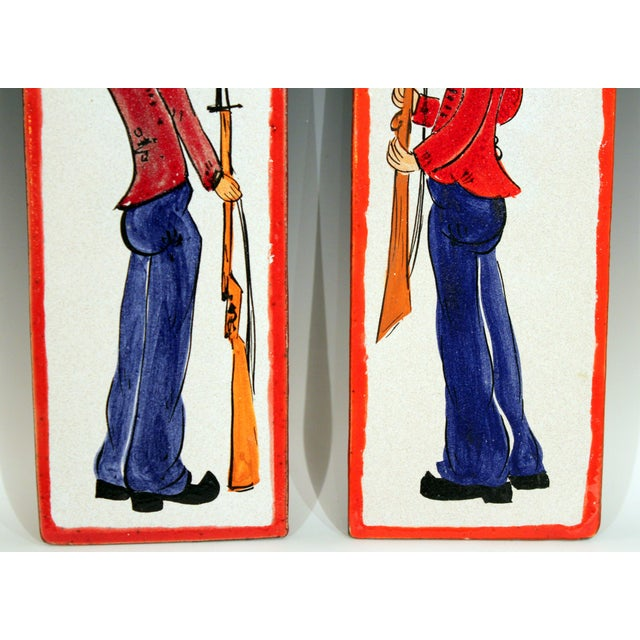 Giovanni Petucco 1960s Pottery Italian Petucco Tiles Beefeater Raymor Hanging Plaques Ceramic - a Pair For Sale - Image 4 of 11