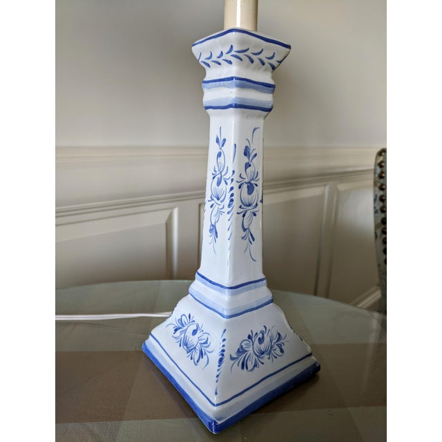 Early 20th Century A Pair- Portugal Ceramic Blue and White Buffet Table Lamps For Sale - Image 5 of 13