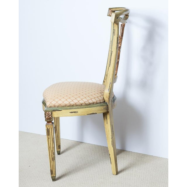 Green Italian Louis XVI Style Painted and Gilt Wood Chairs, Set- of 4 For Sale - Image 8 of 13