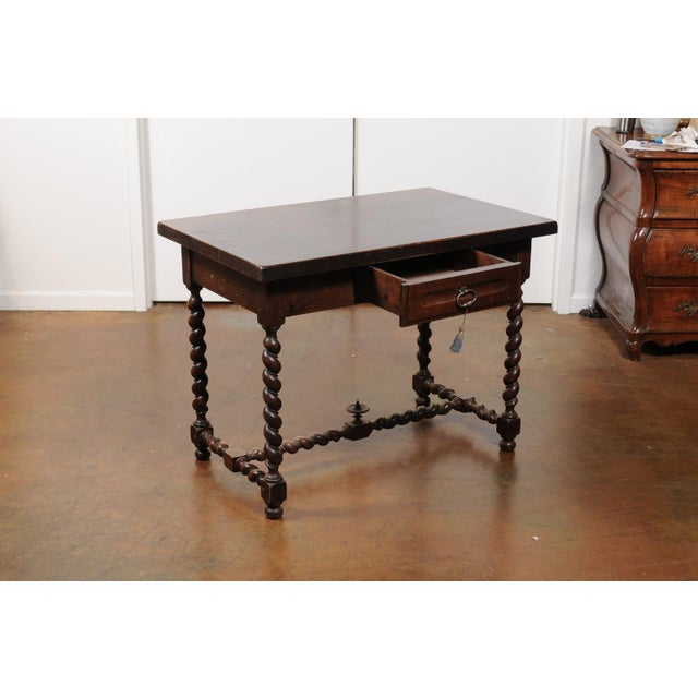 Brown French Walnut Louis XIII Style Desk with Barley Twist Base from the 19th Century For Sale - Image 8 of 13
