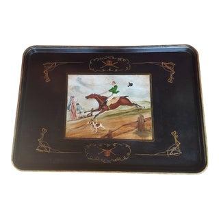 1980s Equestrian Motif Paper Mache Tray For Sale