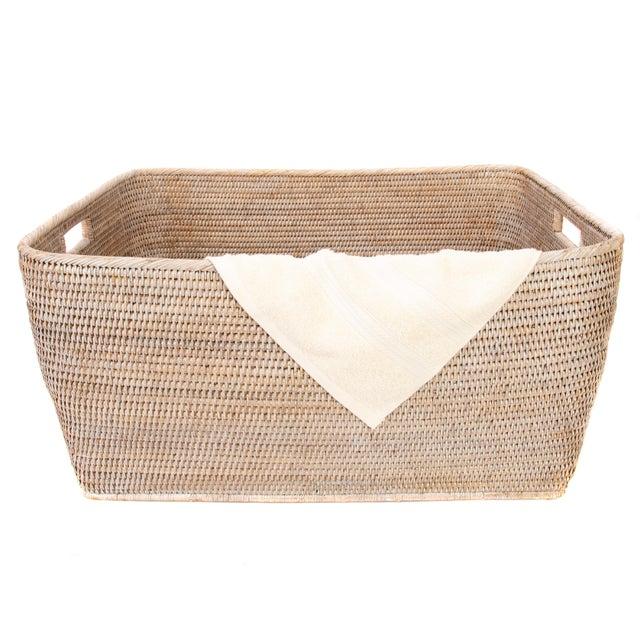 "Boho Chic Artifacts Rattan Rectangular Basket 28""x22x13"" For Sale - Image 3 of 5"
