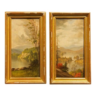 Adirondack Paintings by Levi Wells Prentice - a Pair For Sale