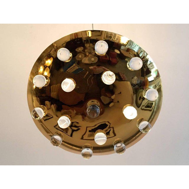 Contemporary 1960s Mid-Century Modern French Brass Crystal Orb Pendant Lighting For Sale - Image 3 of 10