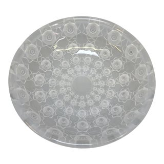 Floral Art Deco Pressed Glass Bowl For Sale