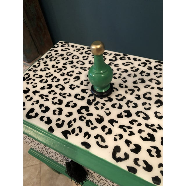 Leopard Motif Black and White Chest For Sale - Image 9 of 10