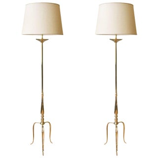 Single Brass Floor Lamp With Tripod Bases For Sale