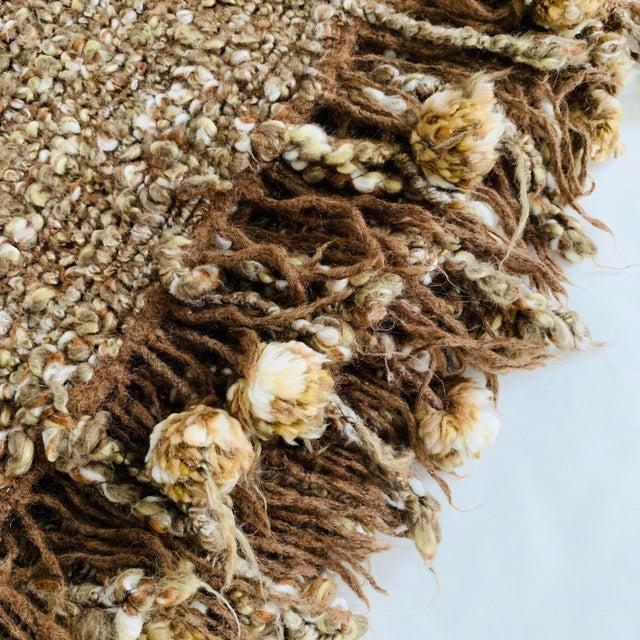 Mid-Century Modern Chunky Knit Pom Pom Fringe Throw Blanket For Sale - Image 3 of 4