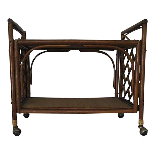 1960's Cane Wicker & Rush Bar Cart For Sale