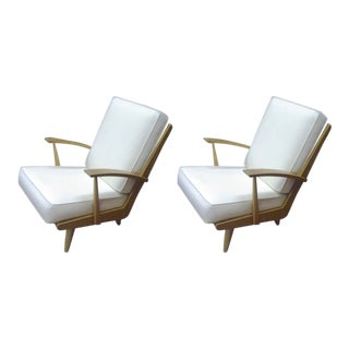 Pair of Comfy Ash-Tree Fifties Lounge Chairs Attributed to Louis Sognot For Sale