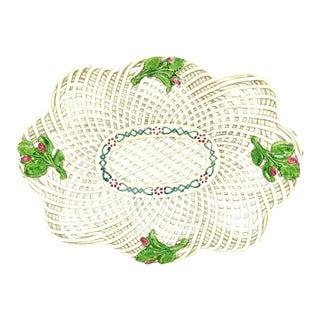 19th Century Openwork English Ceramic Woven Basket For Sale