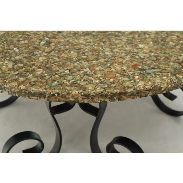 Wrought Iron Base Abalone Composite Round Top Coffee Table For Sale - Image 4 of 9