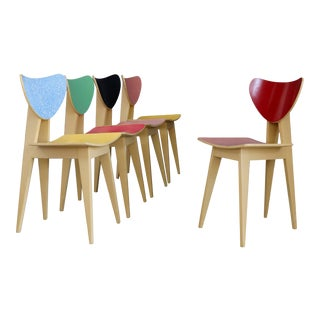 Set of Chair MidCentury Attributed to Gianni Vigorelli in Wood and Formica, 1950 For Sale