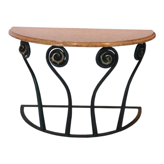 Fiddle Head Fern Demilune Marble Console For Sale
