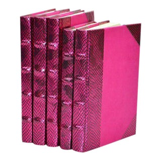 Metallic Collection Azalea Pink Books - Set of 5 For Sale