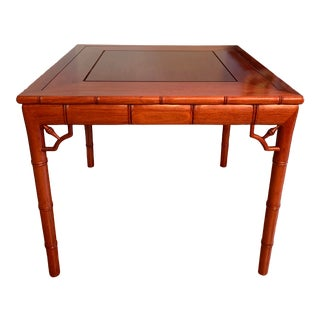 Chinese Chippendale Faux Bamboo Game Table For Sale
