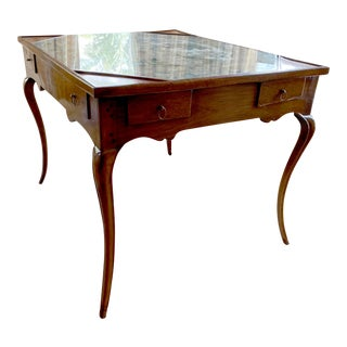 Louis XV Walnut Table With Needlepoint Top For Sale