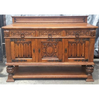 French Oak Gothic Renaissance Revival Carved Sideboard Preview