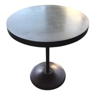 Contemporary Custom Round Metal Side Table With Found Iron Base
