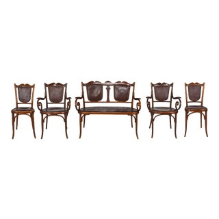 1900s Vintage Fischel Art Nouveau Bentwood & Leather Seating Set-5 Pieces For Sale
