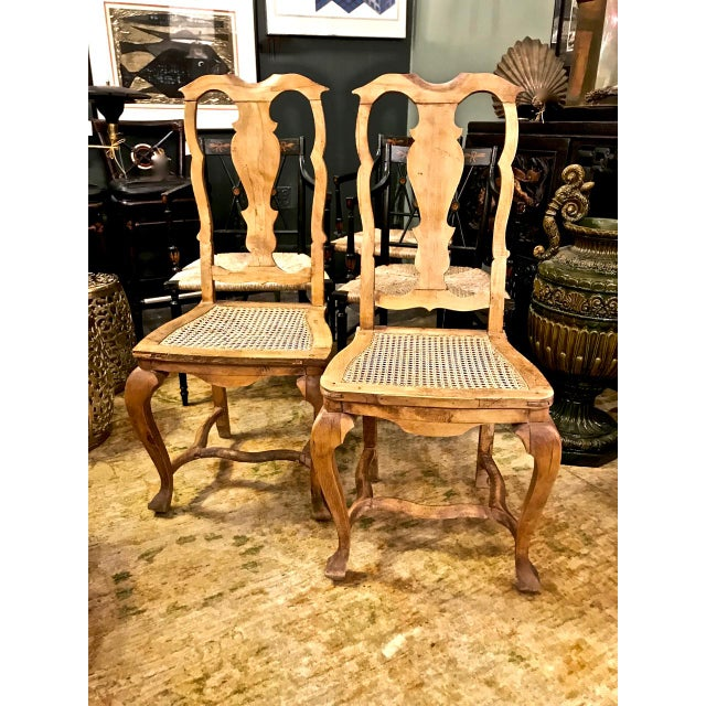 Caning 18th Century Swedish Baroque Side Chairs - a Pair For Sale - Image 7 of 7