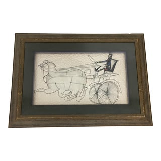 """Horses"" Framed Quilted Fabric For Sale"
