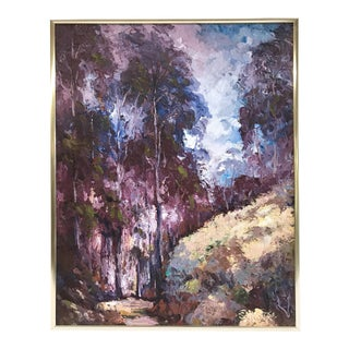 Mid-Century Landscape of Forest Slope Signed Oil Painting For Sale