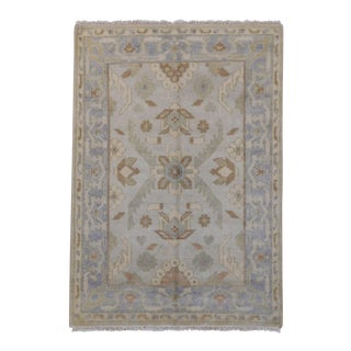 Traditional Indo Oushak Rug - 4' x 6' For Sale