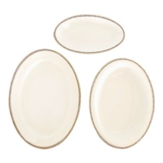 TK Thun Bohemia Porcelain China Oval Gold Trim Serving Platters with Greek Key Pattern - Set of 3 For Sale