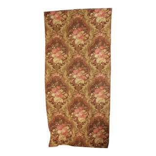 Fabric Antique French Rococo Floral Brown Ground Large Scale Pattern Cotton 1890 For Sale