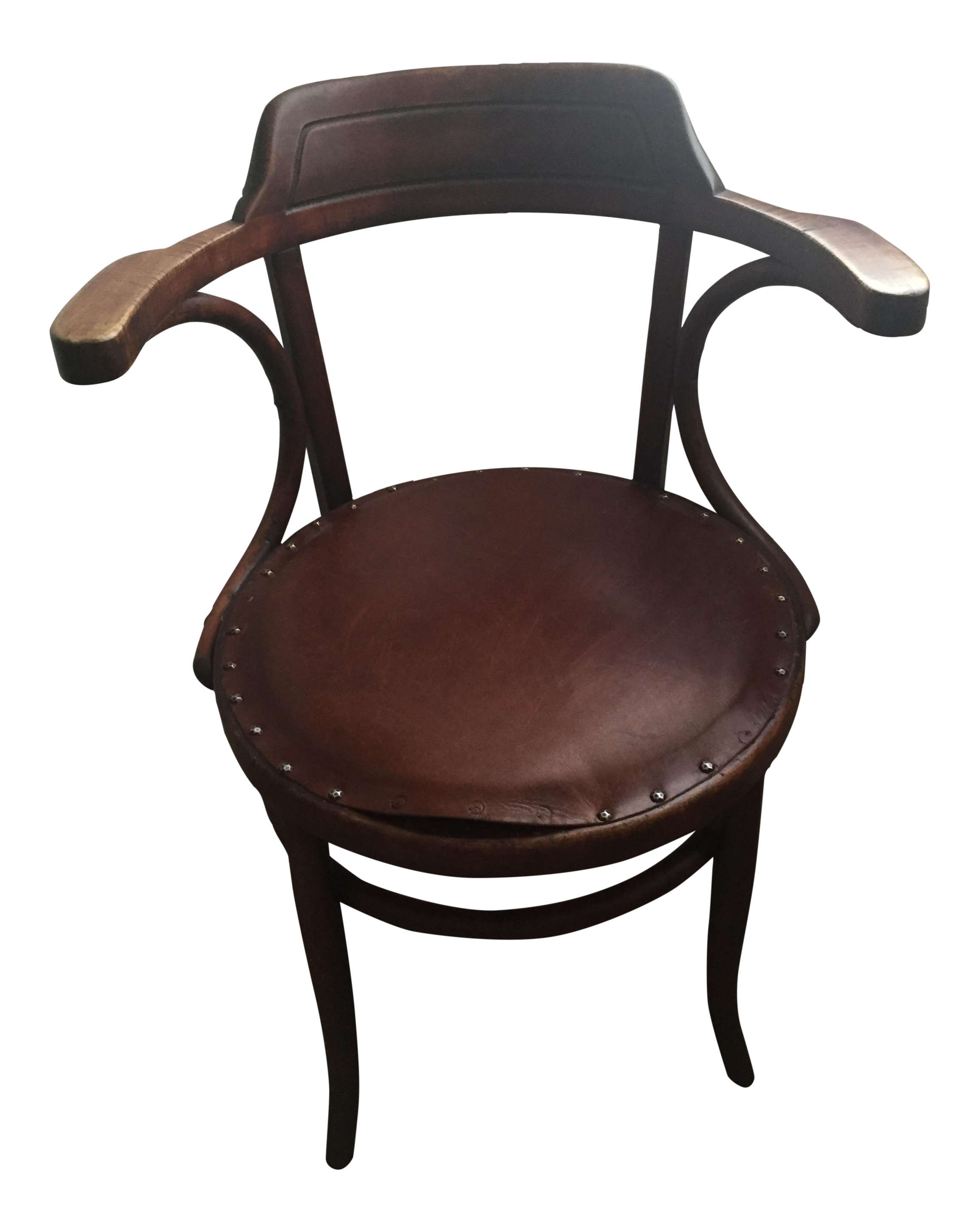 Superbe Vintage Leather Upholstered Bentwood Chair In The Style Of Michael Thonet  For Sale