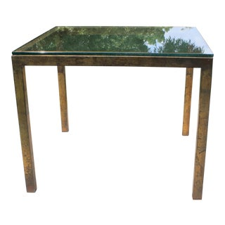 Vintage Modernist Gilt Metal Parsons Table with Thick Glass Top For Sale