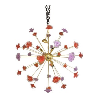 Murano Glass Sputnik Flower Chandelier For Sale