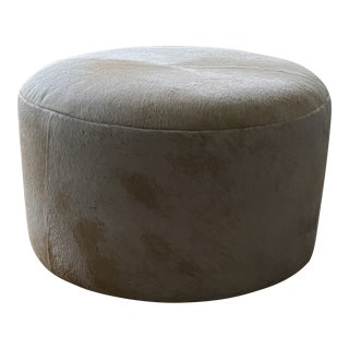 Custom Blonde Cowhide Ottoman on Casters For Sale