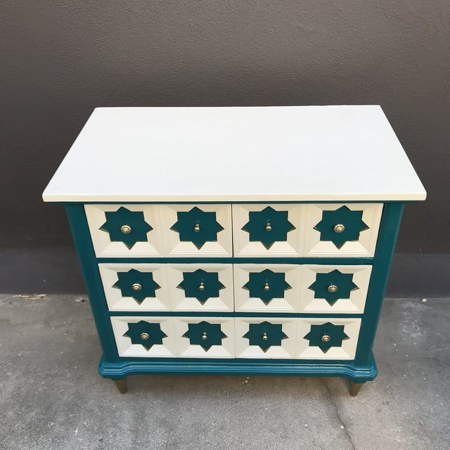 Moroccan Star MCM Painted Chest For Sale - Image 4 of 8