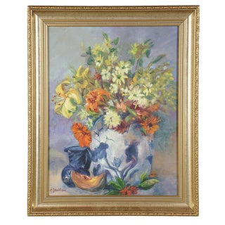 Still Life Painting With Lily & Melon For Sale