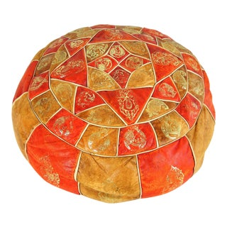 Vintage Moroccan Orange Leather Pouf For Sale