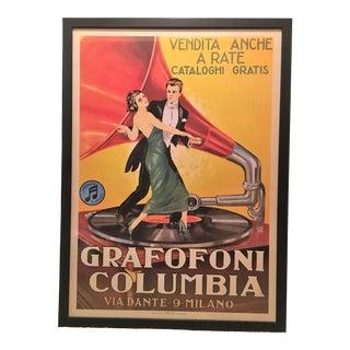 Italian Columbia Grafofoni Framed Poster