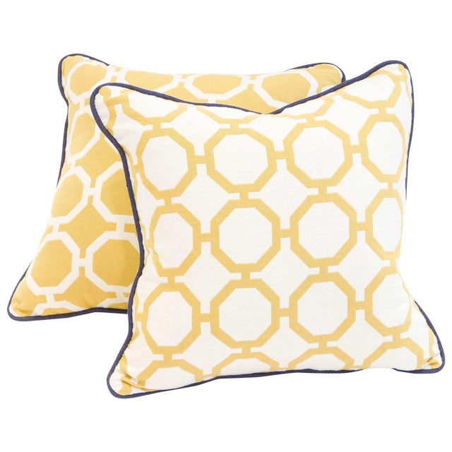 Yellow Geometric Pillows - A Pair - Image 1 of 6