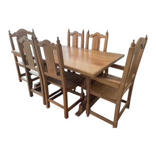 1980s Iron/Wood Dining Set - 7 Pieces For Sale