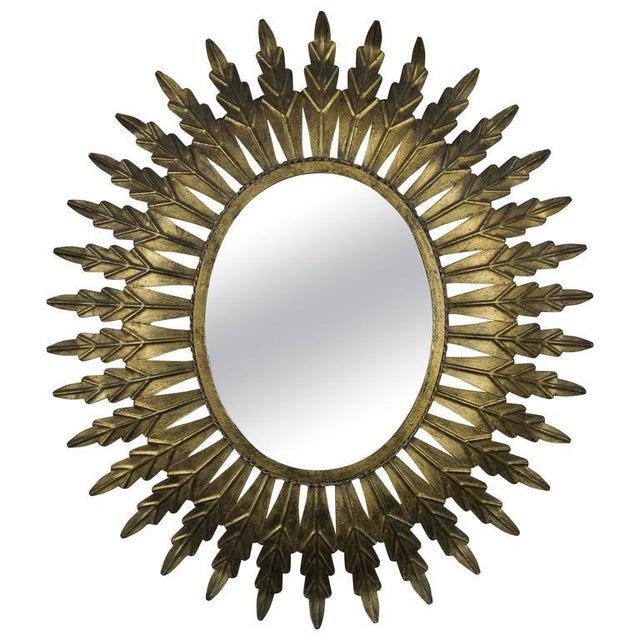 Gilt Metal Oval Sunburst Mirror - Image 9 of 9