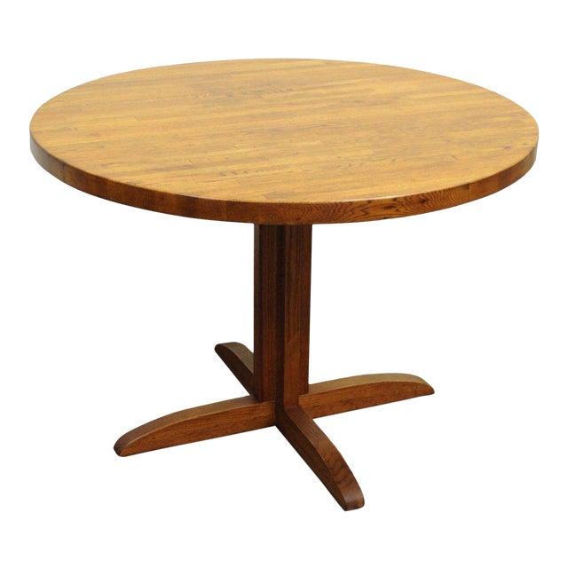 Round Mission Style Oak Butcher Block Top Dining Kitchen Table - Mission style round end table