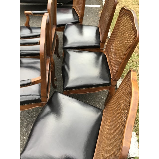 1960s Bodart French Louis XIV Caned Leather Dining Chairs -Set of 6 For Sale - Image 5 of 13