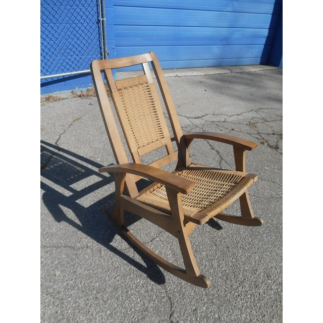 Mid-Century Modern Hans Wegner Style Woven Rope Rocking Chair For Sale - Image 4 of 8