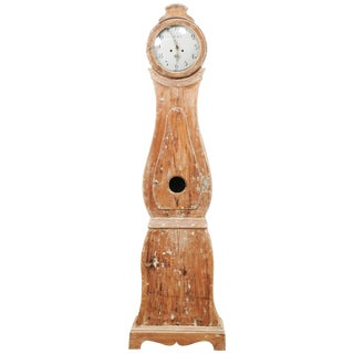 19th Century Swedish Painted Wood Long Case Floor Clock For Sale