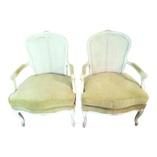 Vintage Caned-Back and Velvet Bergeres - a Pair For Sale