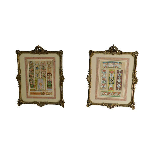 Rococo Gilt Framed Pair of Prints Showing Samples of Decorative Wallpaper Borders For Sale
