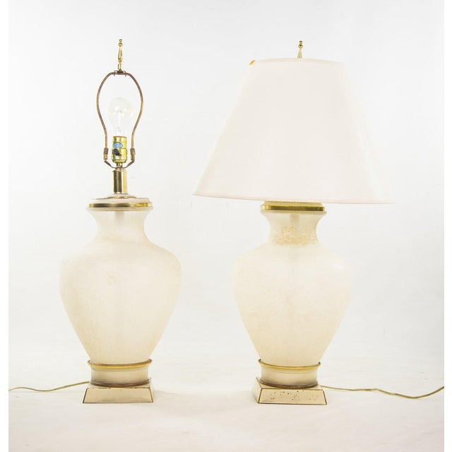 Italian Frosted Glass Table Lamps A Pair Chairish