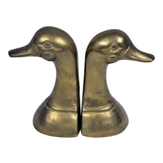 1980s Vintage Brass Duck Bookends - a Pair For Sale